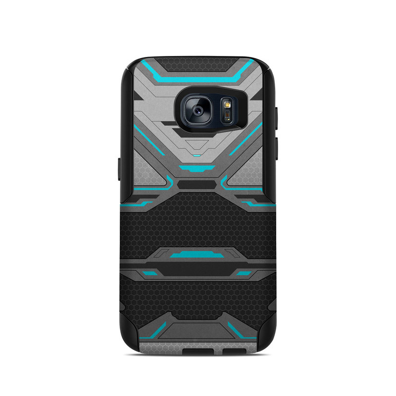 OtterBox Commuter Galaxy S7 Case Skin design of Blue, Turquoise, Pattern, Teal, Symmetry, Design, Line, Automotive design, Font with black, gray, blue colors