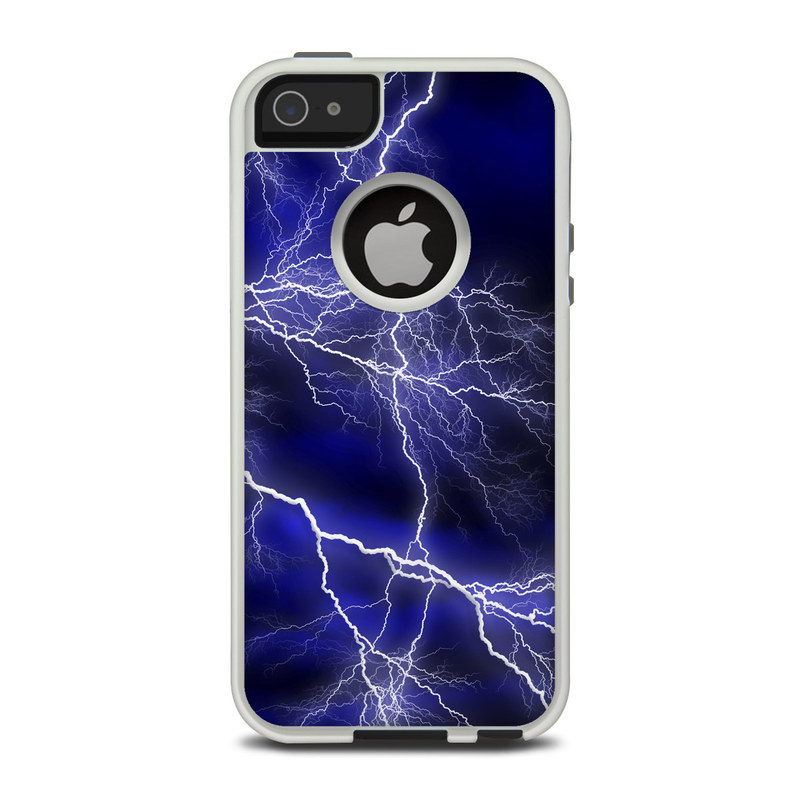 OtterBox Commuter iPhone 5 Case Skin design of Thunder, Lightning, Thunderstorm, Sky, Nature, Electric blue, Atmosphere, Daytime, Blue, Atmospheric phenomenon with blue, black, white colors
