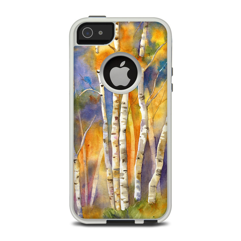 OtterBox Commuter iPhone 5 Case Skin design of Canoe birch, Watercolor paint, Tree, Birch, Woody plant, Painting, Plant, Birch family, Paint, Trunk with orange, yellow, green, white, purple, blue colors