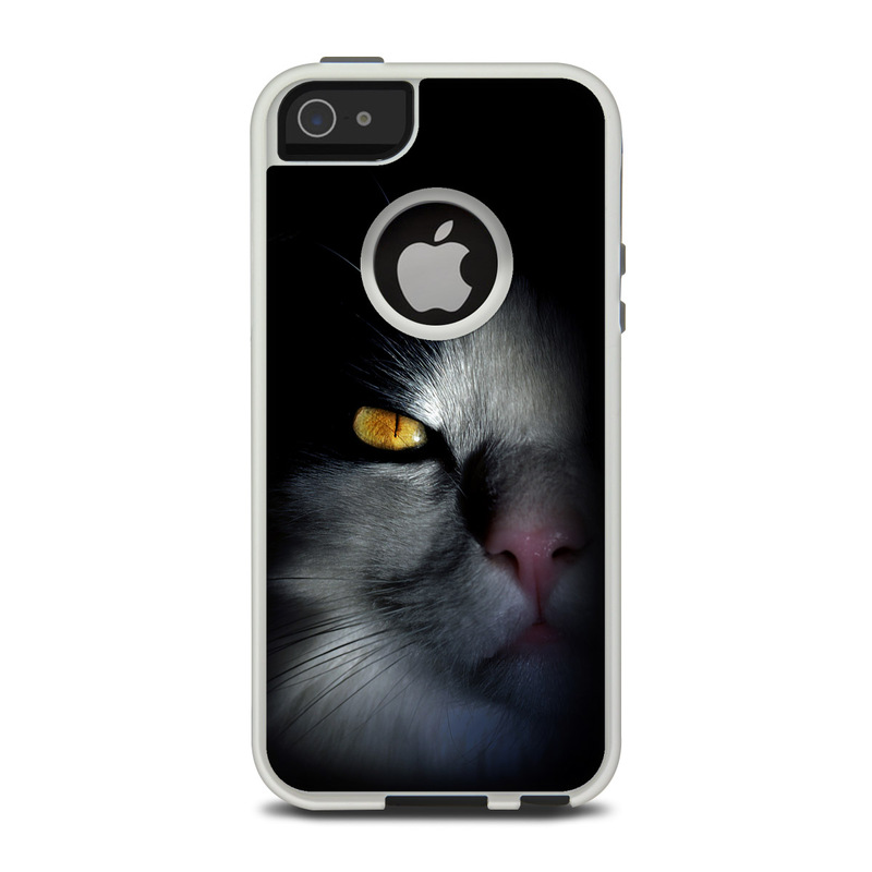 OtterBox Commuter iPhone 5 Case Skin design of Cat, Whiskers, Small to medium-sized cats, Felidae, Black, Nose, Darkness, Snout, Eye, Carnivore with black, gray colors