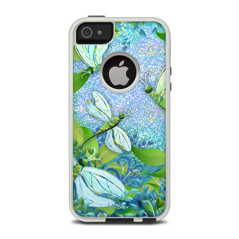 OtterBox Commuter iPhone 5 Case Skin design of Green, Blue, Leaf, Plant, Pattern, Tree, Design, Organism, Branch, Flower with gray, blue, green, purple colors