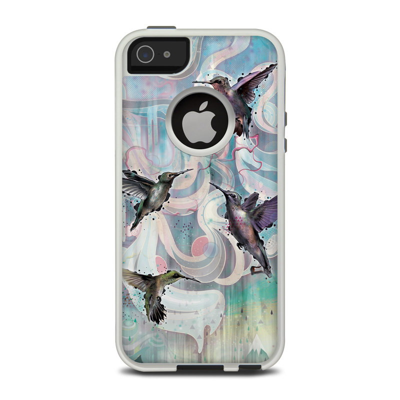OtterBox Commuter iPhone 5 Case Skin design of Bird, Watercolor paint, Illustration, Hummingbird, Painting, Art, Wing, Fictional character, Acrylic paint, Perching bird with gray, blue, black colors