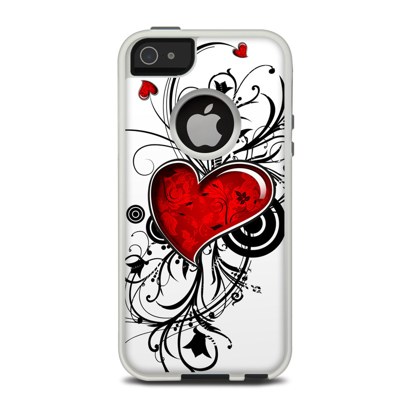 OtterBox Commuter iPhone 5 Case Skin design of Heart, Line art, Love, Clip art, Plant, Graphic design, Illustration with white, gray, black, red colors