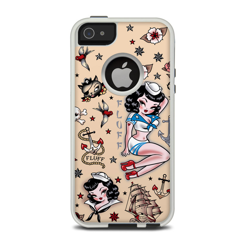 OtterBox Commuter iPhone 5 Case Skin design of Cartoon, Illustration, Fictional character, Art, Clip art with gray, black, pink, red, white, blue colors