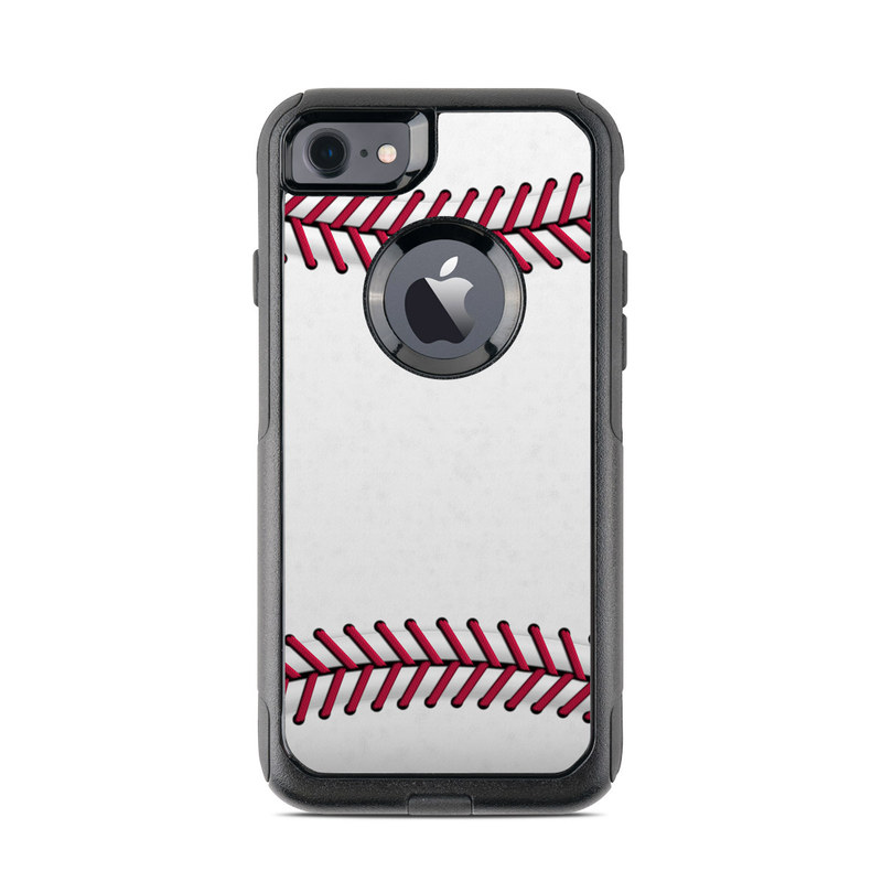 OtterBox Commuter iPhone 8 Case Skin design of Red, Line, Pink, Parallel, Paper with white, red colors