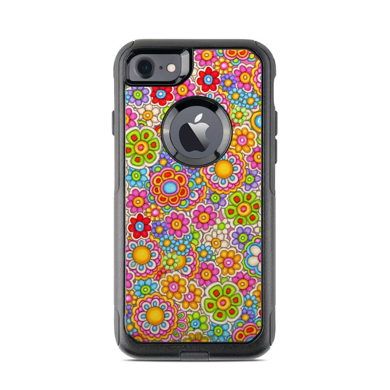 OtterBox Commuter iPhone 8 Case Skin design of Pattern, Design, Textile, Visual arts with pink, red, orange, yellow, green, blue, purple colors