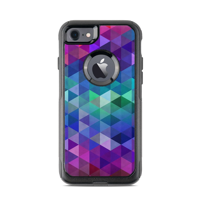 OtterBox Commuter iPhone 8 Case Skin design of Purple, Violet, Pattern, Blue, Magenta, Triangle, Line, Design, Graphic design, Symmetry with blue, purple, green, red, pink colors