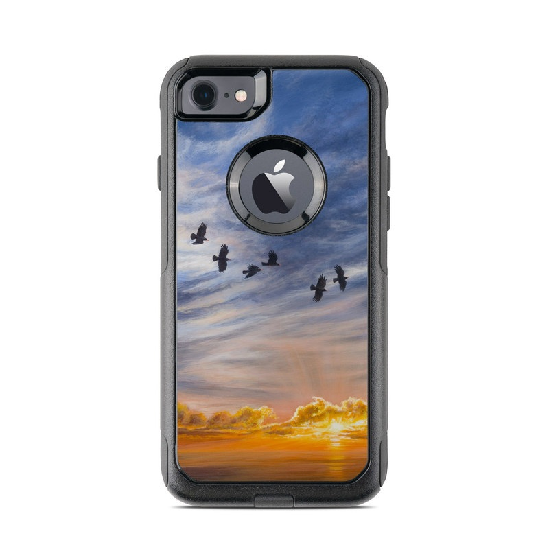 OtterBox Commuter iPhone 8 Case Skin design of Sky, Cloud, Nature, Blue, Daytime, Atmosphere, Sunset, Afterglow, Evening, Horizon with black, blue, yellow, orange, white colors