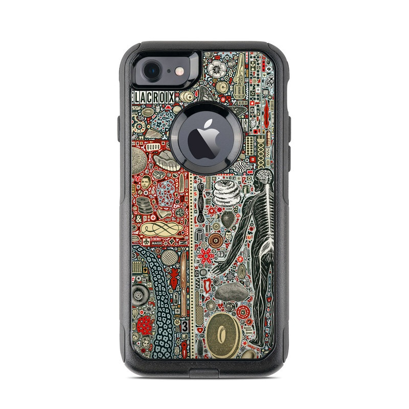 OtterBox Commuter iPhone 8 Case Skin design of Urban design, Pattern, Art, Map, Textile with black, red, yellow, blue colors