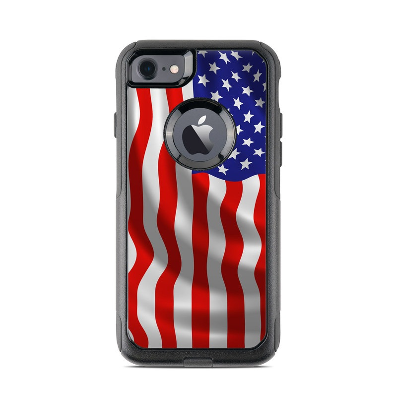 OtterBox Commuter iPhone 8 Case Skin design of Flag of the united states, Flag, Flag Day (USA), Veterans day, Independence day, Memorial day, Holiday with gray, red, blue, black, white colors