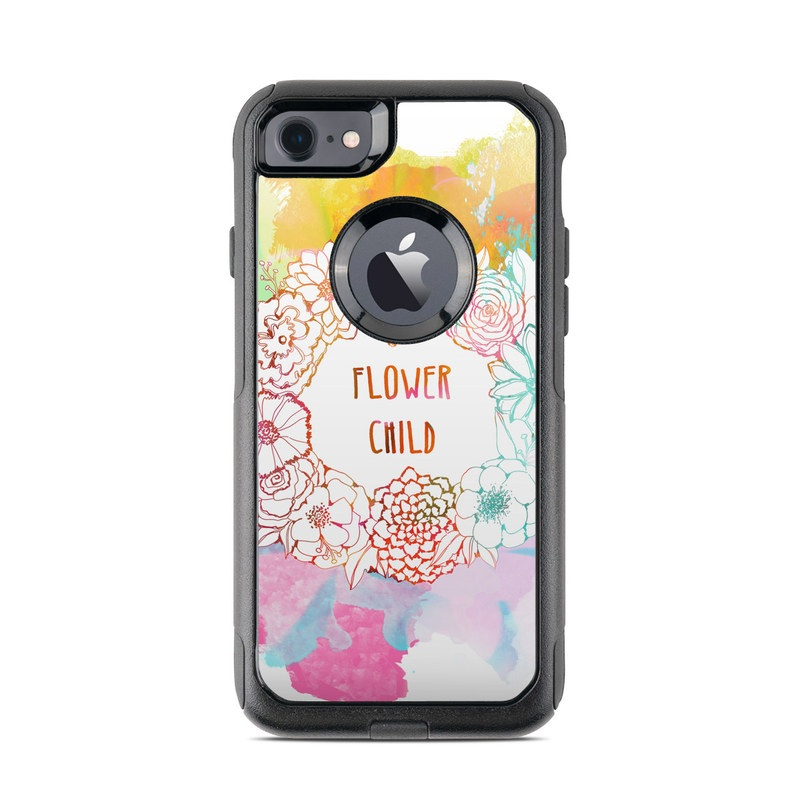 OtterBox Commuter iPhone 8 Case Skin design of Heart, Illustration, Clip art with yellow, orange, pink, blue, red colors