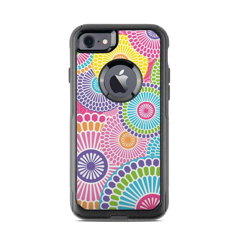 OtterBox Commuter iPhone 8 Case Skin design of Pattern, Circle, Textile, Design, Visual arts, Wrapping paper with gray, pink, purple, orange, blue, green colors