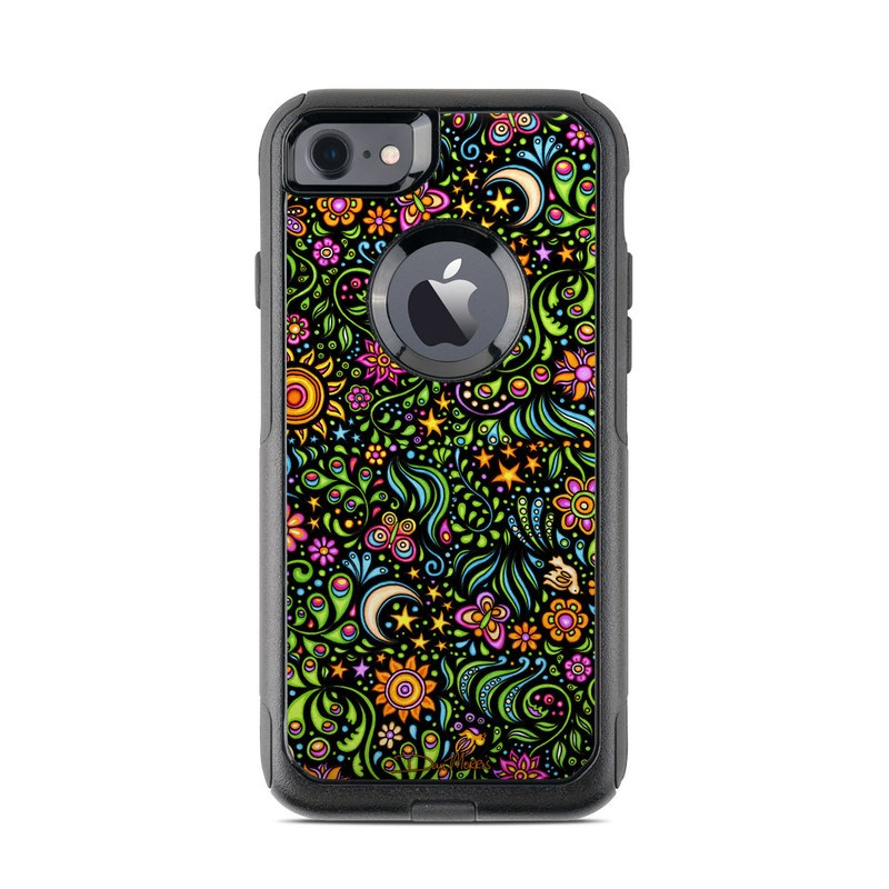 OtterBox Commuter iPhone 8 Case Skin design of Pattern, Psychedelic art, Visual arts, Art, Design, Motif, Organism, Circle, Textile, Plant with black, red, green, blue, purple colors