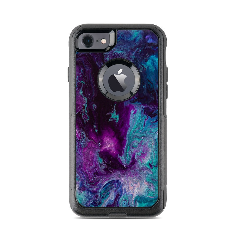 OtterBox Commuter iPhone 8 Case Skin design of Blue, Purple, Violet, Water, Turquoise, Aqua, Pink, Magenta, Teal, Electric blue with blue, purple, black colors