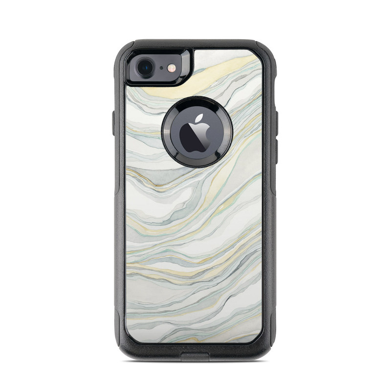 OtterBox Commuter iPhone 8 Case Skin design of Line, Pattern with yellow, white, blue, gray colors