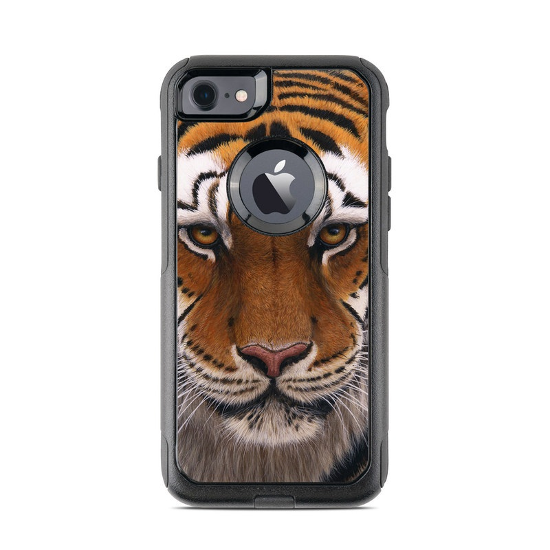 OtterBox Commuter iPhone 8 Case Skin design of Tiger, Mammal, Wildlife, Terrestrial animal, Vertebrate, Bengal tiger, Whiskers, Siberian tiger, Felidae, Snout with black, gray, red, green, pink colors