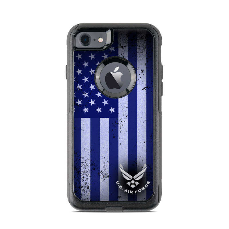 OtterBox Commuter iPhone 8 Case Skin design of Text, Font, Design, Pattern, Flag, Graphic design, Logo, Graphics, Illustration with black, gray, blue, purple colors