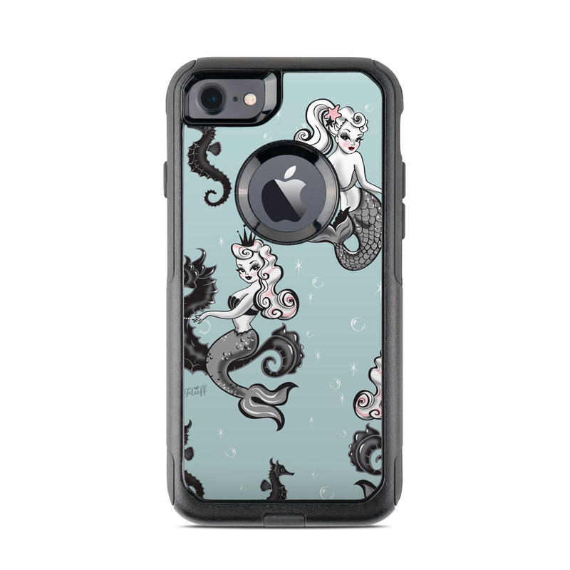 OtterBox Commuter iPhone 8 Case Skin design of Illustration, Seahorse, Syngnathiformes, Design, Fictional character, Visual arts, Pattern, Art, Clip art, Graphic design with gray, black, white colors