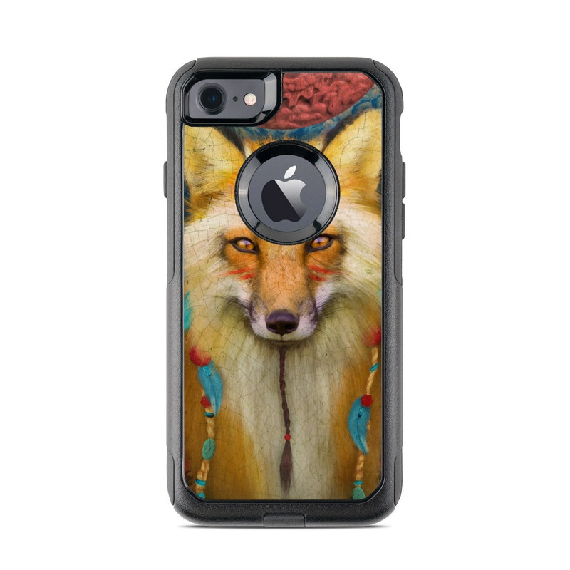 OtterBox Commuter iPhone 8 Case Skin design of Red fox, Canidae, Fox, Wildlife, Swift fox, Carnivore, Jackal, Fur, Snout, Art with red, black, gray, green, blue colors