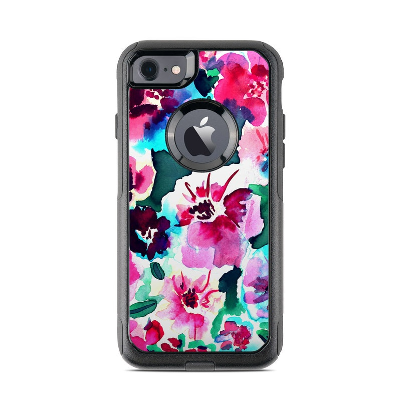 OtterBox Commuter iPhone 8 Case Skin design of Flower, Pink, Petal, Plant, Pattern, Hawaiian hibiscus, Design, Magenta, Flowering plant, Watercolor paint with white, pink, blue, green, red colors