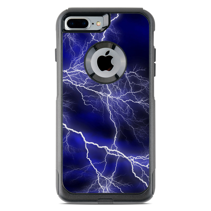 OtterBox Commuter iPhone 8 Plus Case Skin design of Thunder, Lightning, Thunderstorm, Sky, Nature, Electric blue, Atmosphere, Daytime, Blue, Atmospheric phenomenon with blue, black, white colors