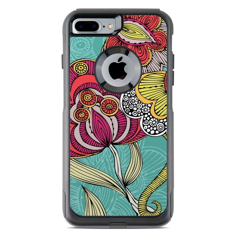 OtterBox Commuter iPhone 8 Plus Case Skin design of Pattern, Visual arts, Motif, Floral design, Design, Art, Plant, Flower, Organism, Textile with red, yellow, blue, gray, pink colors