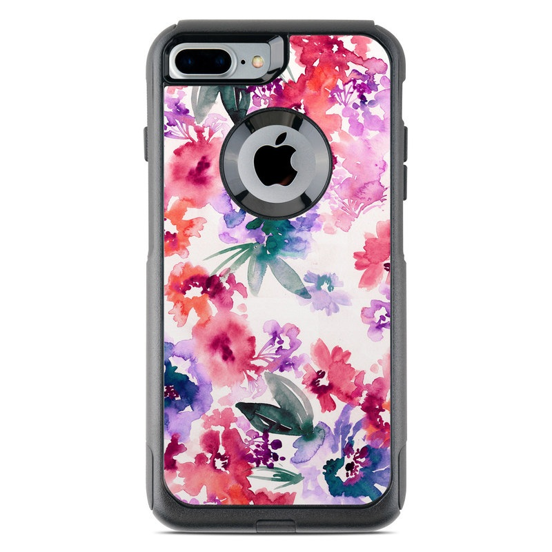 OtterBox Commuter iPhone 8 Plus Case Skin design of Purple, Pattern, Pink, Lilac, Violet, Flower, Watercolor paint, Floral design, Plant, Design with green, pink, red, purple, white colors
