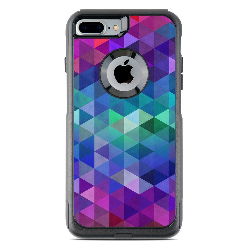 OtterBox Commuter iPhone 8 Plus Case Skin design of Purple, Violet, Pattern, Blue, Magenta, Triangle, Line, Design, Graphic design, Symmetry with blue, purple, green, red, pink colors