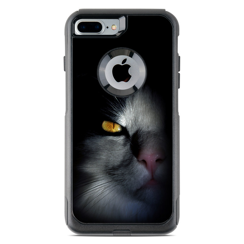OtterBox Commuter iPhone 8 Plus Case Skin design of Cat, Whiskers, Small to medium-sized cats, Felidae, Black, Nose, Darkness, Snout, Eye, Carnivore with black, gray colors