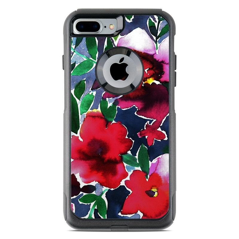 OtterBox Commuter iPhone 8 Plus Case Skin design of Flower, Petal, Red, Plant, Pattern, Pink, Purple, Flowering plant, Botany, Design with red, green, pink, blue colors