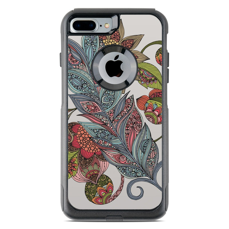 OtterBox Commuter iPhone 8 Plus Case Skin design of Botany, Plant, Leaf, Pattern, Flower, Illustration, Design, Motif, Protea family, Flowering plant with green, blue, pink, red, yellow, orange, gray, brown colors