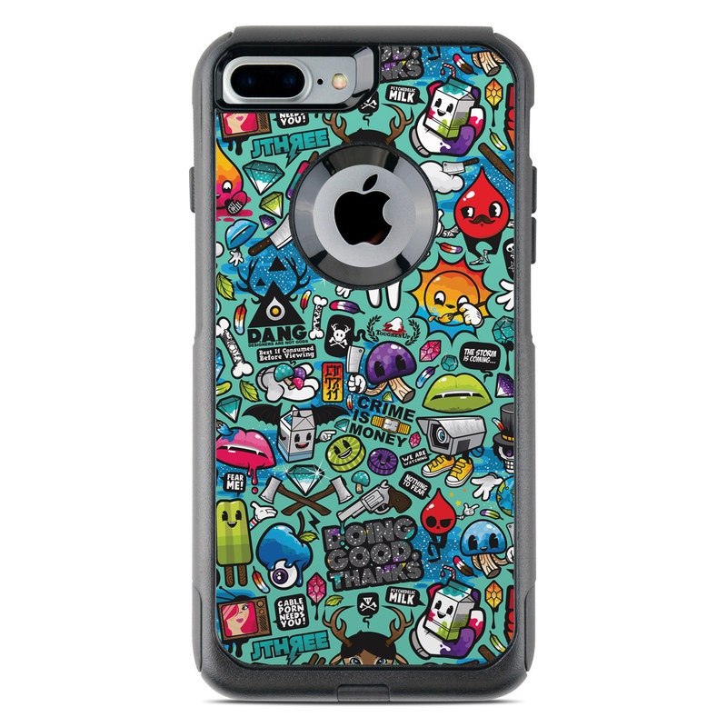 OtterBox Commuter iPhone 8 Plus Case Skin design of Cartoon, Art, Pattern, Design, Illustration, Visual arts, Doodle, Psychedelic art with black, blue, gray, red, green colors
