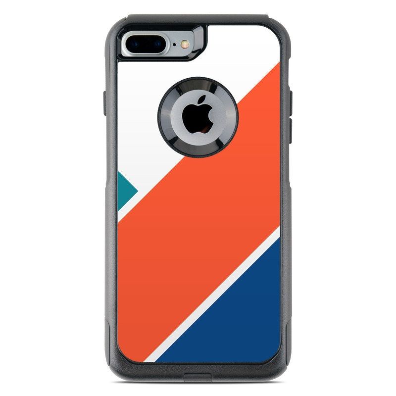 OtterBox Commuter iPhone 8 Plus Case Skin design of Blue, Orange, Line, Turquoise, Flag, Electric blue, Pattern, Parallel with white, blue, red, orange, green colors