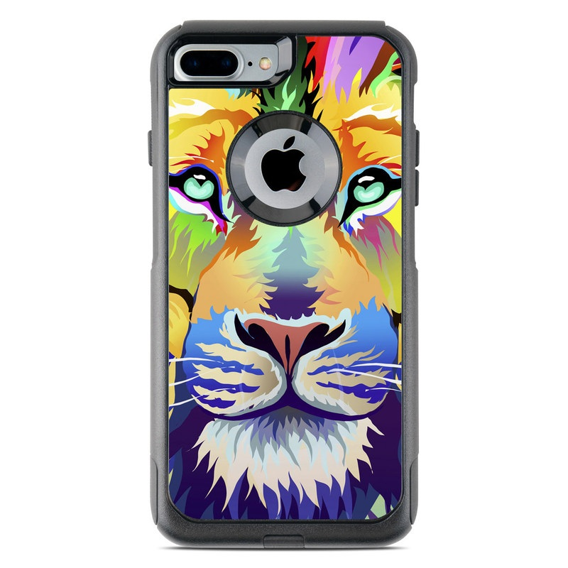 OtterBox Commuter iPhone 8 Plus Case Skin design of Bengal tiger, Felidae, Lion, Wildlife, Big cats, Tiger, Carnivore, Art, Illustration, Painting with orange, yellow, green, red, pink, blue, purple colors