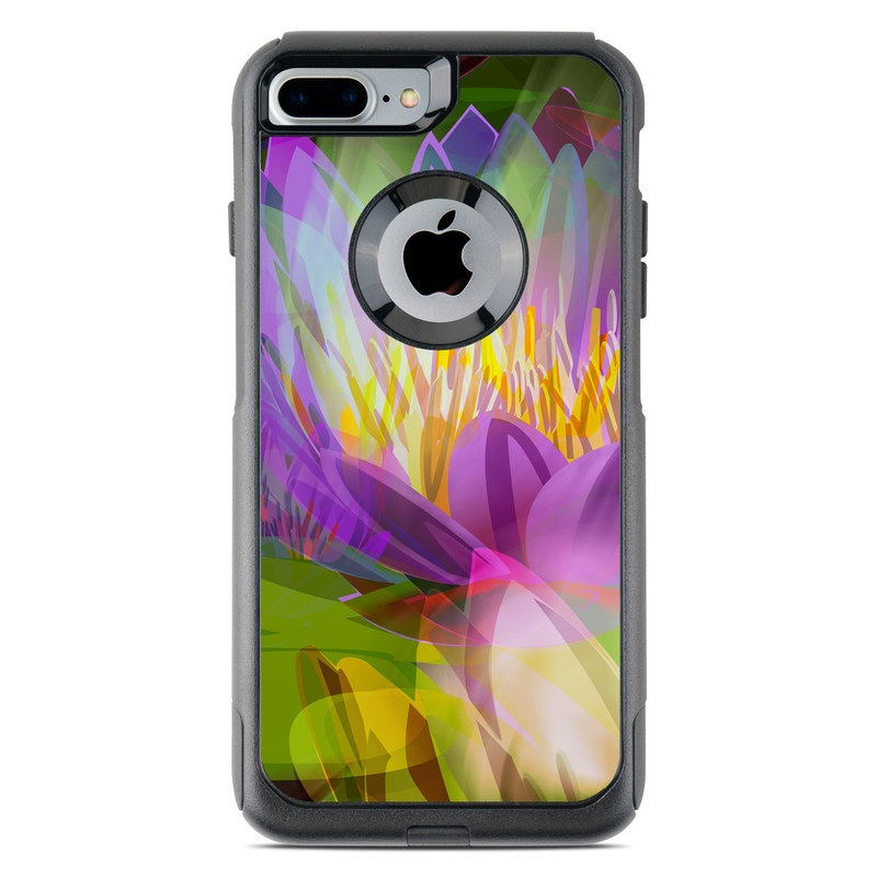 OtterBox Commuter iPhone 8 Plus Case Skin design of Flowering plant, Flower, Petal, Violet, Aquatic plant, Purple, water lily, Plant, Botany, Close-up with gray, green, black, purple, red colors