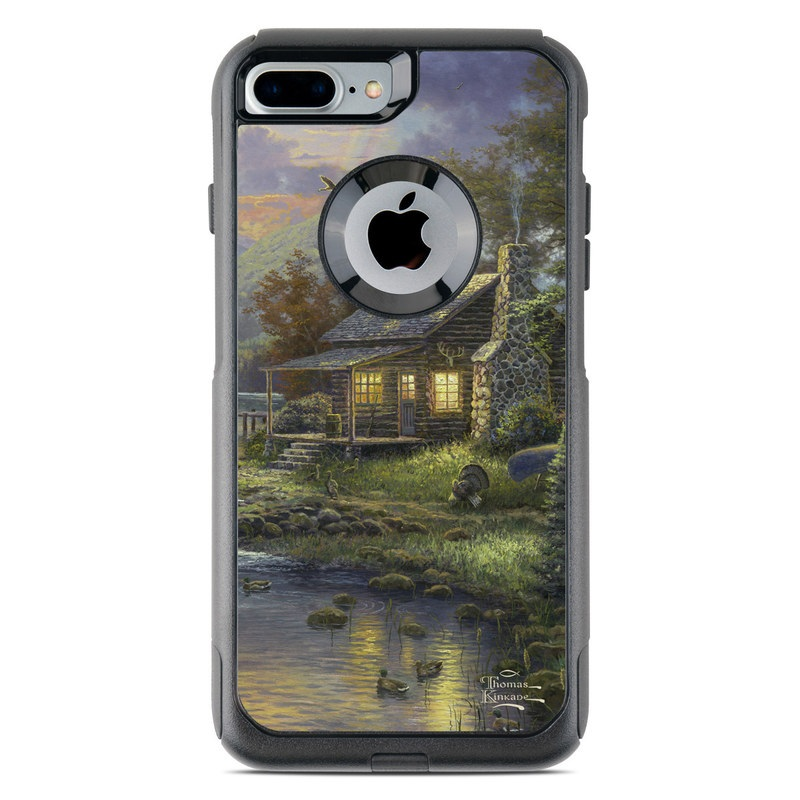 OtterBox Commuter iPhone 8 Plus Case Skin design of Nature, Painting, Natural landscape, Sky, House, Bank, Morning, Watercolor paint, Tree, Home with black, gray, green, red, blue colors