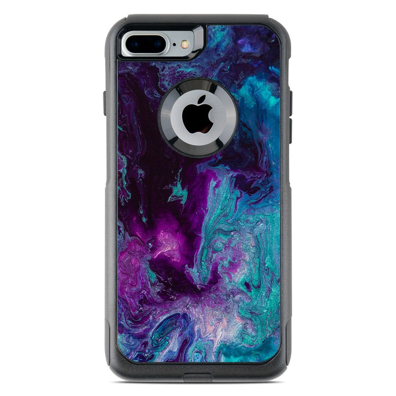 OtterBox Commuter iPhone 8 Plus Case Skin design of Blue, Purple, Violet, Water, Turquoise, Aqua, Pink, Magenta, Teal, Electric blue with blue, purple, black colors