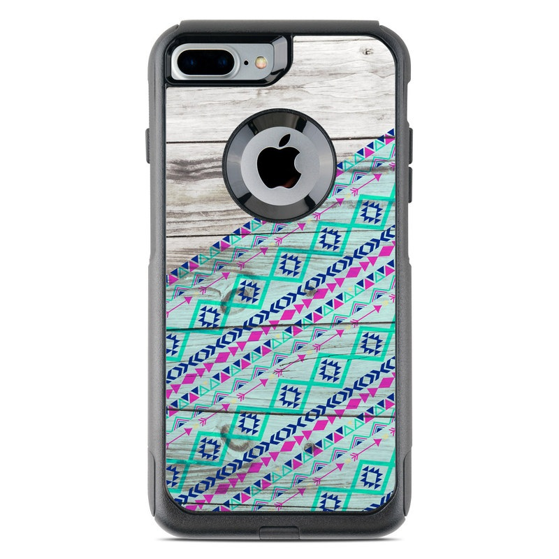OtterBox Commuter iPhone 8 Plus Case Skin design of Turquoise, Pattern, Pink, Line, Magenta, Parallel with gray, blue, purple colors