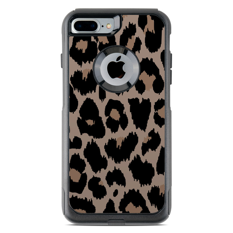 OtterBox Commuter iPhone 8 Plus Case Skin design of Pattern, Brown, Fur, Design, Textile, Monochrome, Fawn with black, gray, red, green colors