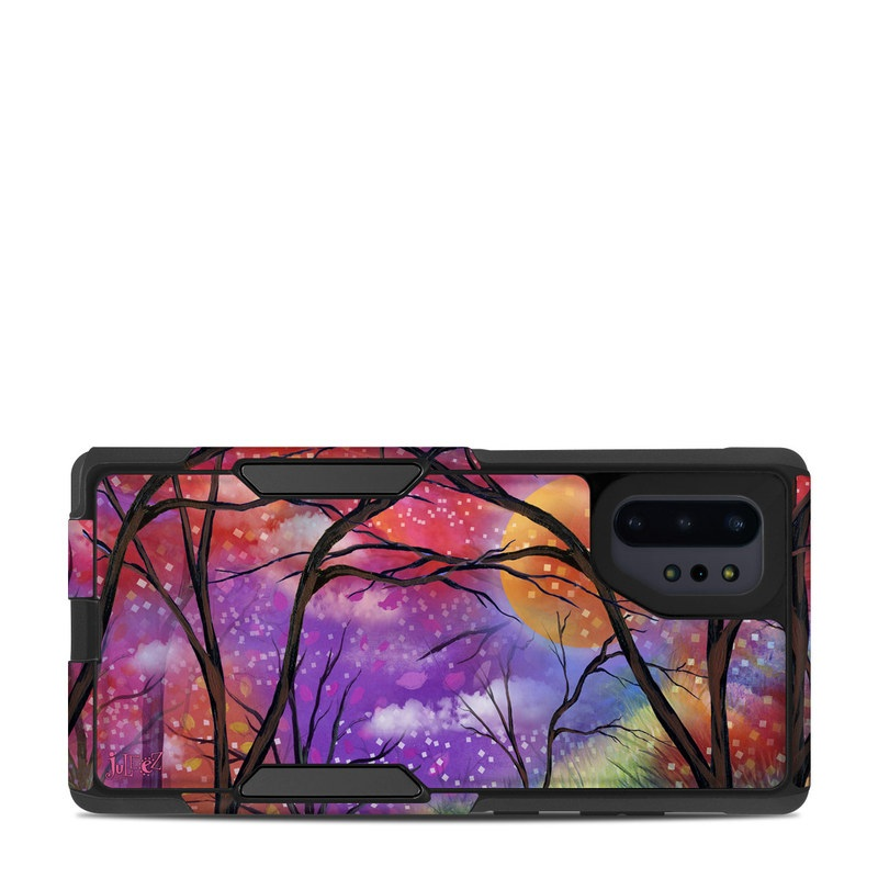 OtterBox Commuter Galaxy Note 10 Plus Case Skin design of Nature, Tree, Natural landscape, Painting, Watercolor paint, Branch, Acrylic paint, Purple, Modern art, Leaf with red, purple, black, gray, green, blue colors