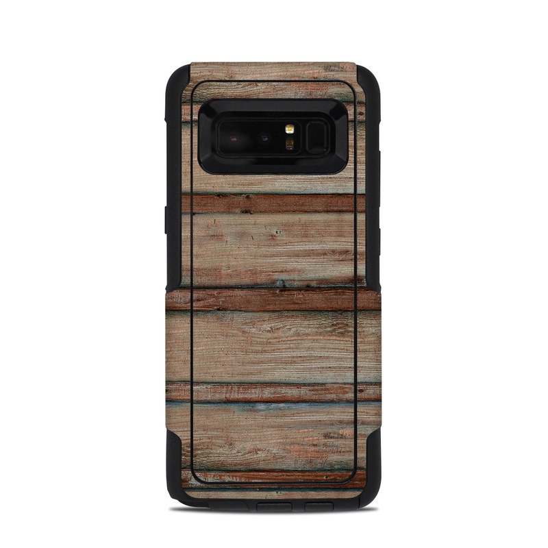 OtterBox Commuter Galaxy Note 8 Case Skin design of Wood, Wood stain, Plank, Lumber, Hardwood, Plywood, Pattern, Siding with brown colors