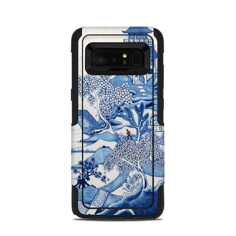 OtterBox Commuter Galaxy Note 8 Case Skin design of Blue, Blue and white porcelain, Winter, Christmas eve, Illustration, Snow, World, Art with blue, white colors