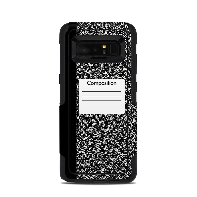 OtterBox Commuter Galaxy Note 8 Case Skin design of Text, Font, Line, Pattern, Black-and-white, Illustration with black, gray, white colors