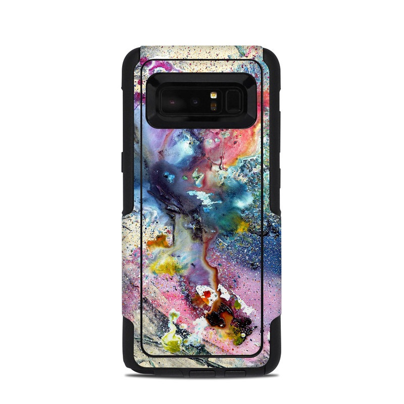 OtterBox Commuter Galaxy Note 8 Case Skin design of Watercolor paint, Painting, Acrylic paint, Art, Modern art, Paint, Visual arts, Space, Colorfulness, Illustration with gray, black, blue, red, pink colors