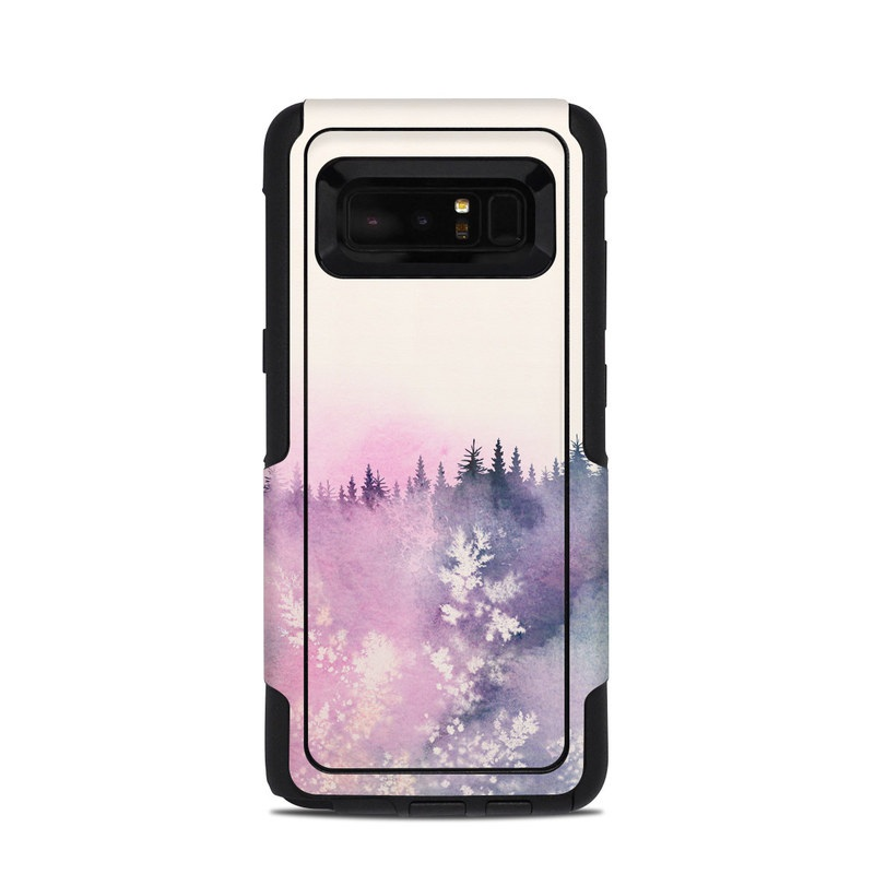 OtterBox Commuter Galaxy Note 8 Case Skin design of Watercolor paint, Sky, Atmospheric phenomenon, Tree, Atmosphere, Cloud, Landscape, Forest, Painting, Illustration with white, yellow, pink, purple, blue, black colors