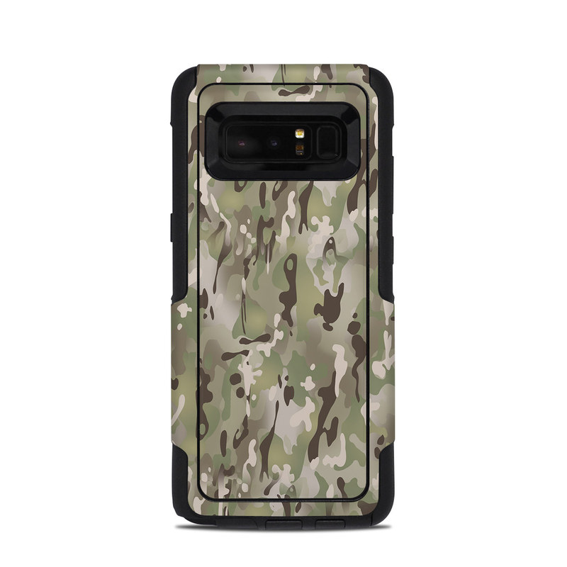 OtterBox Commuter Galaxy Note 8 Case Skin design of Military camouflage, Camouflage, Pattern, Clothing, Uniform, Design, Military uniform, Bed sheet with gray, green, black, red colors