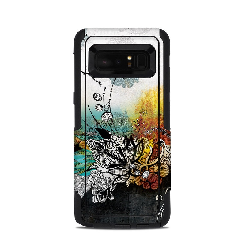OtterBox Commuter Galaxy Note 8 Case Skin design of Graphic design, Illustration, Art, Design, Visual arts, Floral design, Font, Graphics, Modern art, Painting with black, gray, red, green, blue colors