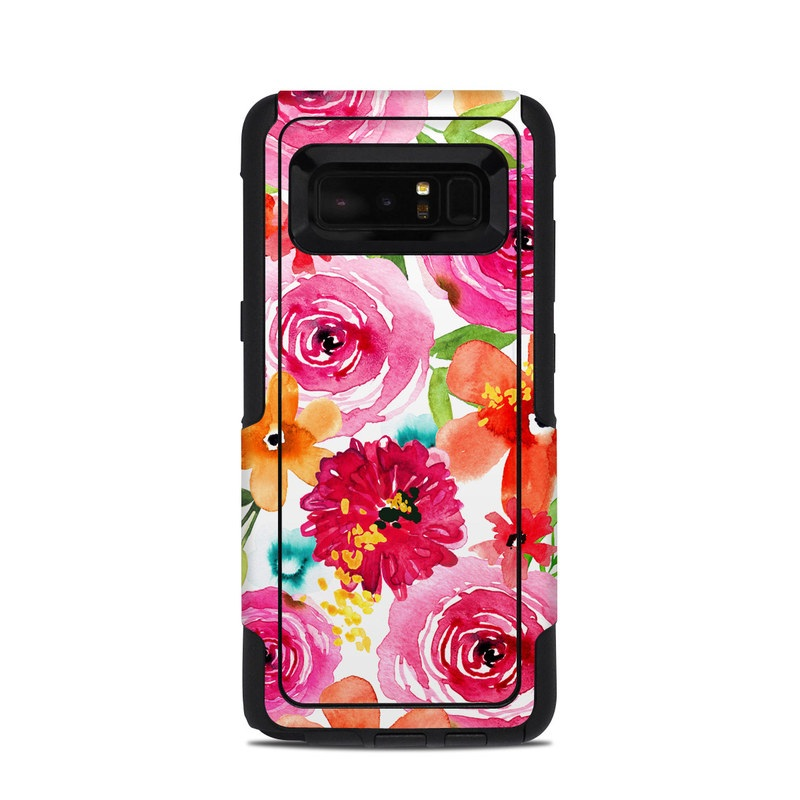 OtterBox Commuter Galaxy Note 8 Case Skin design of Flower, Cut flowers, Floral design, Plant, Pink, Bouquet, Petal, Flower Arranging, Artificial flower, Clip art with pink, red, green, orange, yellow, blue, white colors