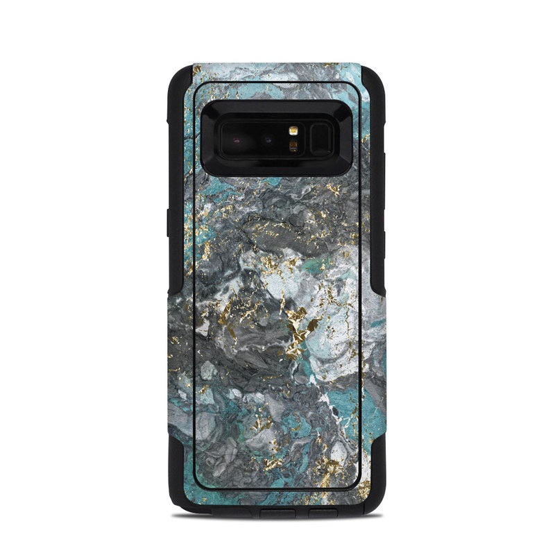 OtterBox Commuter Galaxy Note 8 Case Skin design of Blue, Turquoise, Green, Aqua, Teal, Geology, Rock, Painting, Pattern with black, white, gray, green, blue colors