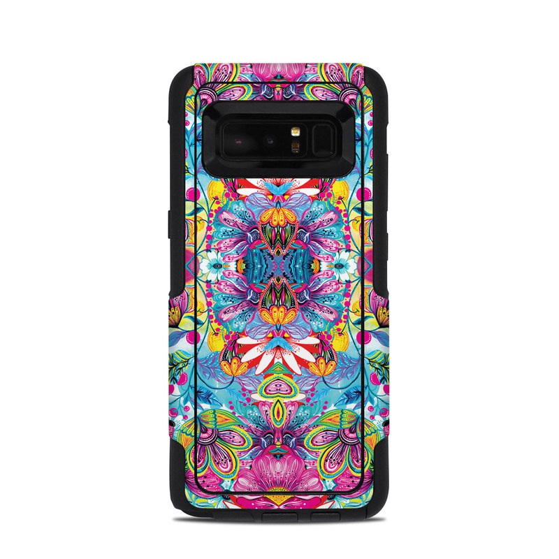 OtterBox Commuter Galaxy Note 8 Case Skin design of Pattern, Psychedelic art, Design, Textile, Visual arts, Art, Magenta, Motif, Symmetry, Paisley with pink, blue, purple, yellow, orange, green, red colors